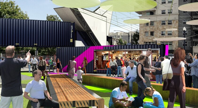A rendering shows the range of activities that would take place inside the shipping containers and in the open space around them.