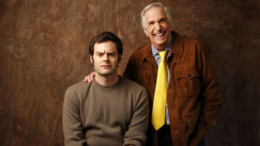 LOS ANGELES, CA - FEBRUARY 6, 2018: Actors Bill Hader with Henry Winkler that appear in HBO's new co