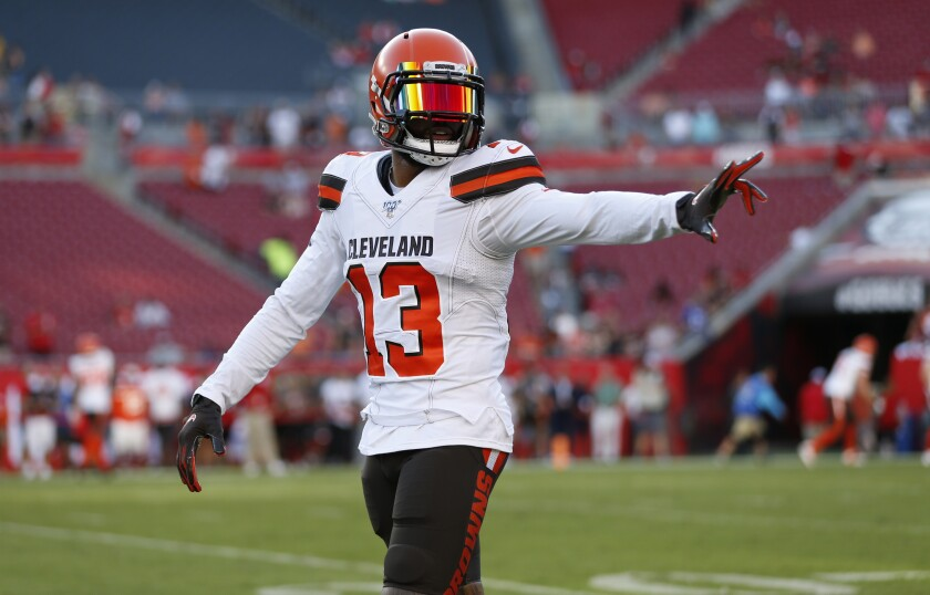 Cleveland Browns wide receiver Odell Beckham warms up before a preseason game against the Tampa Bay Buccaneers.