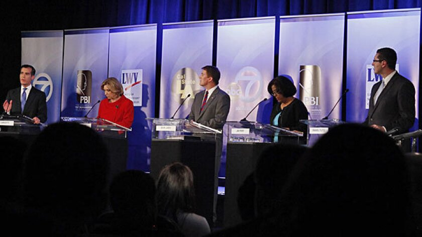 Los Angeles mayoral candidates, from left, Eric Garcetti, Wendy Greuel, Kevin James, Jan Perry and Emanuel Pleitez at a debate in February.