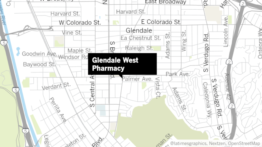 Glendale West Pharmacy, located in the 1100 block of South Glendale Avenue, was broken into by a burglar who ran away from police officers on June 15, 2019.