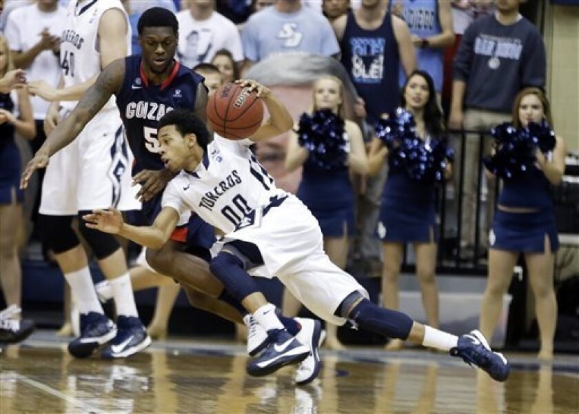 San Diego guard Christopher Anderson drives against Gonzaga guard Gary Bell, Jr. during the first half of an NCAA college basketball game Saturday, Feb. 2, 2013 in San Diego. (AP Photo/Lenny Ignelzi)