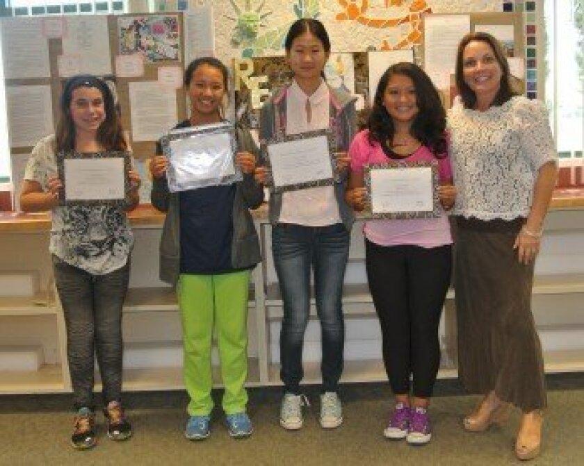 (L-R) Award winners Hannah Leibowitz, Helen Cho, Susan Lin, Melanie Limas An and CVMS Principal Laurie Brady.