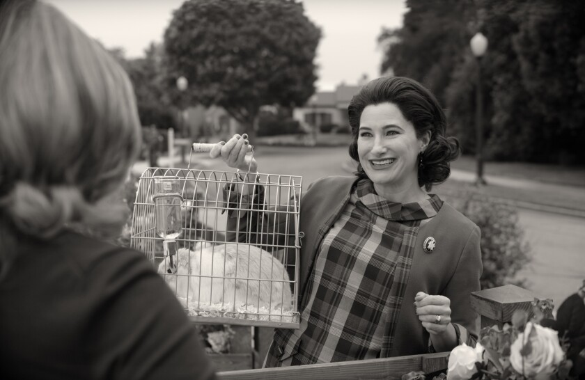 Kathryn Hahn carrying a rabbit cage in 'WandaVision'