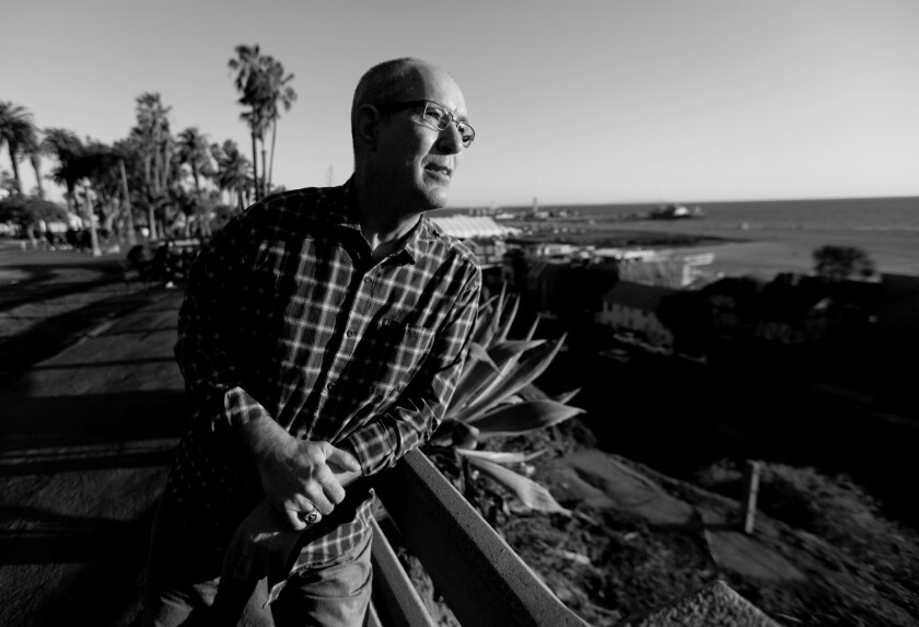 A portrait of Les Jones, 62, as he goes for his daily walk in Santa Monica.