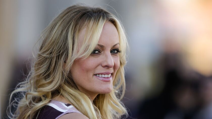 FILE - In this Oct. 11, 2018, file photo, adult film actress Stormy Daniels attends the opening of t