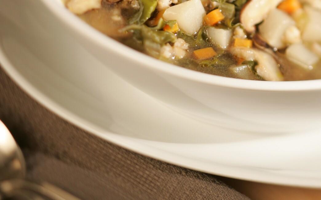 Mushroom, barley and Swiss chard soup