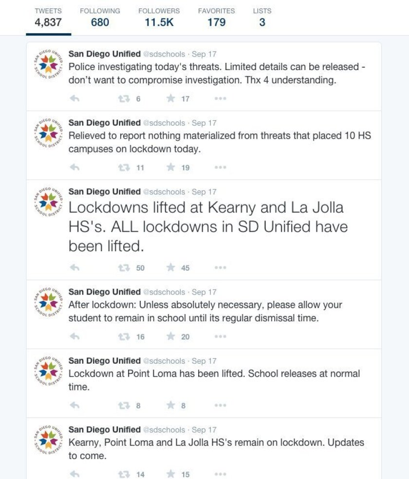 San Diego Unified School District uses social media, like Twitter, to post updates during an emergency. This screen grab shows the stream of updates during the 10-school lockdown Sept. 17.