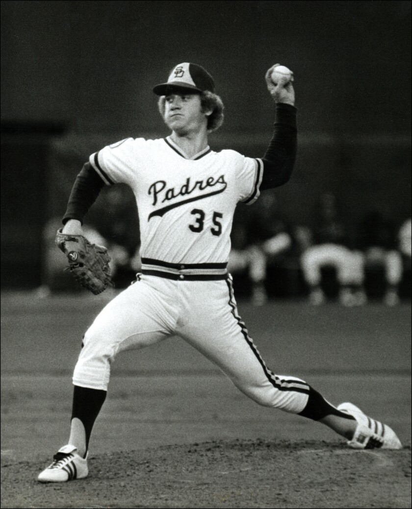 Padres left-hander Randy Jones delivers during a game in the mid-1970s.
