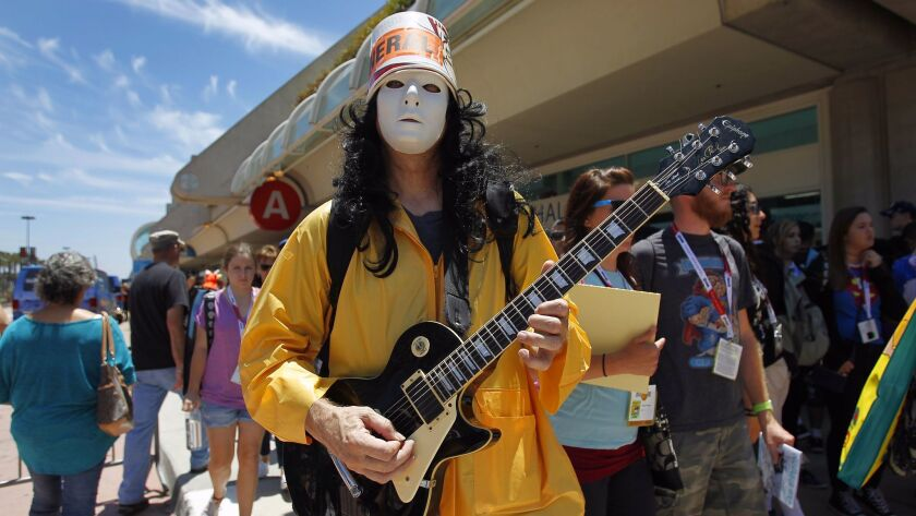 Buckethead performs outside Comic-Con in 2015.