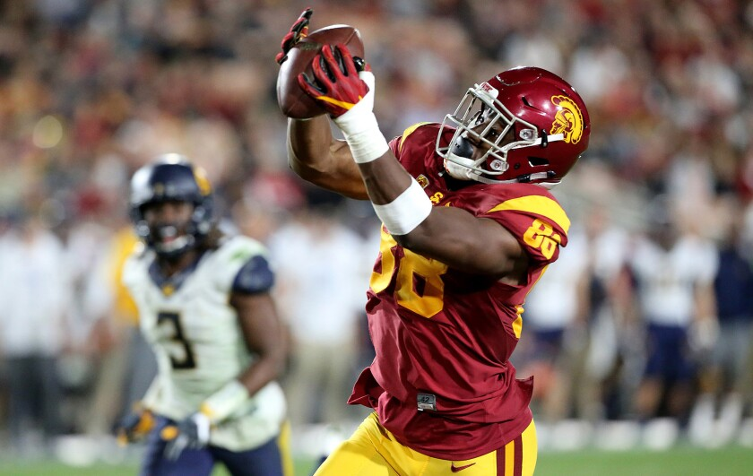 USC tight end Daniel Imatorbhebhe makes a catch against Cal.
