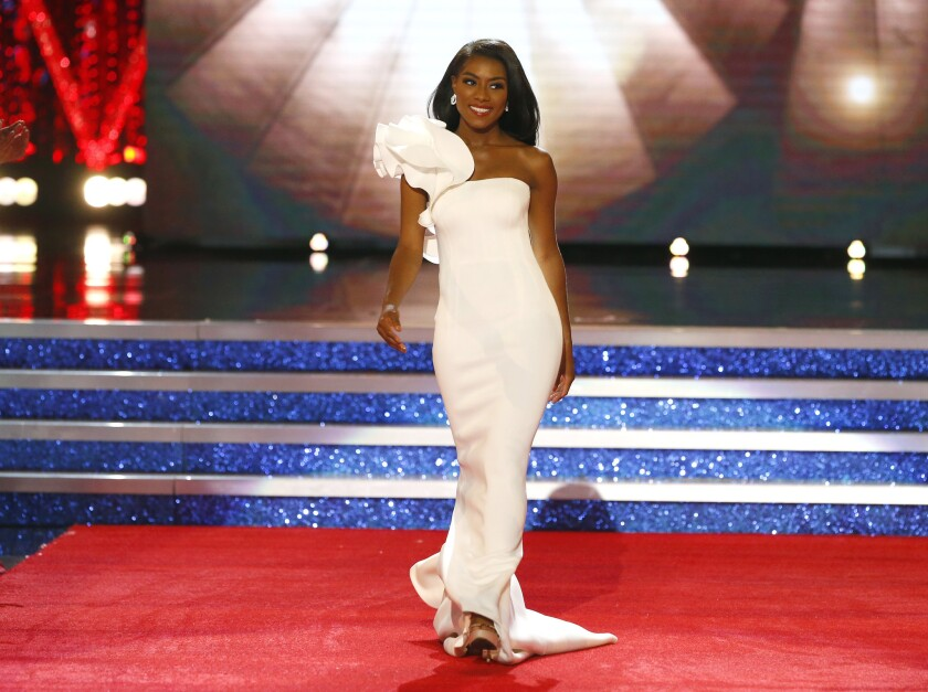Miss New York Nia Franklin walks on the stage during the evening wear competition at the Miss America pageant, Sunday, Sept. 9, 2018, in Atlantic City, N.J.