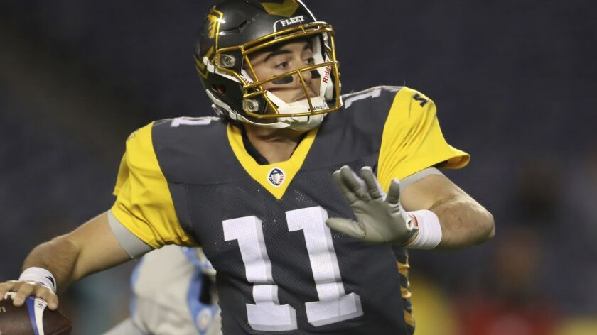 San Diego Fleet quarterback Mike Bercovici (11) looks to make a pass downfall while under pressure f