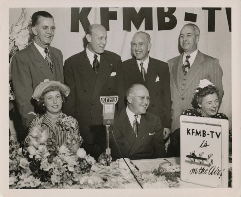 Jack Gross, back row second from left, and others celebrating KFMB-TV going on the air. Photo: Courtesy