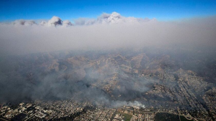 An aerial view of the Thomas fire in Ventura County on Dec. 5, 2017.