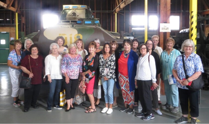 Carlsbad Newcomers and Friends visit Camp Pendleton The Out & About Group of the Carlsbad Newcomers and Friends recently visited the Marine Corps Mechanized Museum at Camp Pendleton. The museum includes a collection of dozens of military vehicles from World War I to the first Gulf War. The group viewed a movie about women Marines and then visited the historic Rancho Santa Margarita y Las Flores on base. From left to right: back row- Nancy Hood, Gail Vollmer, Christine Lucas, Caren Dizney, Trudi Davidson, Ellen Hallack, Kay Muncrief, Jo Ann Thomas, Rosemary Henderson, Patricia Mehan. From left to right: front row-JoAnn Civalleri, Laurie Kushner, Debra Macri, Debby Yager, Lisa Morganti, Linda Sounart, Gisela Hill, Caroline Jongewwaard. Not pictured, Pat Feasel.