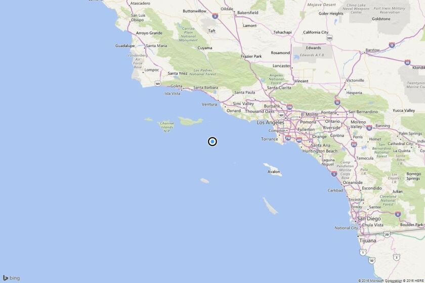 A map showing the location of the epicenter of Saturday afternoon's quake near Port Hueneme, Calif..