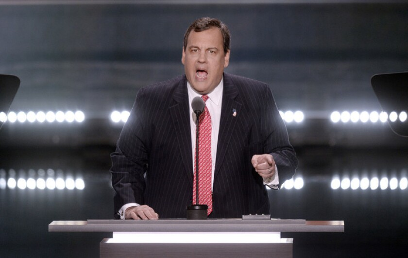New Jersey Gov. Chris Christie speaks on the second day of the Republican National Convention on Tuesday, July 19, 2016, at Quicken Loans Arena in Cleveland.