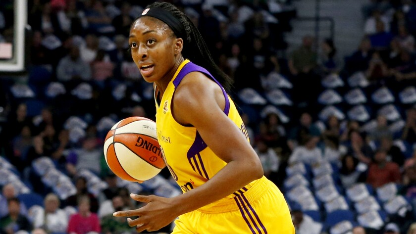 The Sparks' Nneka Ogwumike brings the ball upcourt against the Lynx in Game 2 of the WNBA Finals.