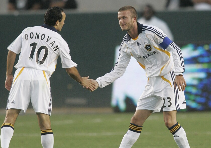 The Galaxy have brought in their share of big-name stars, including American Landon Donovan (left) and England'sDavid Beckham.