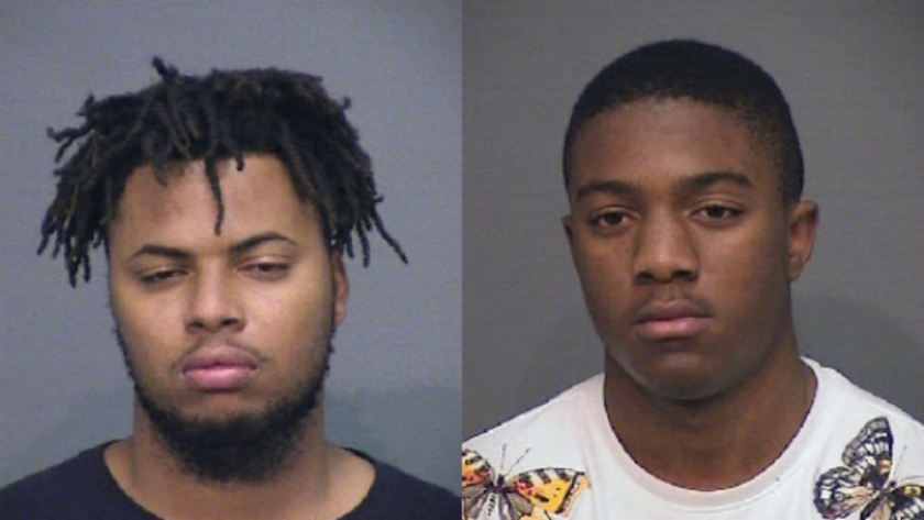 Isiah Bryant, 21, left, a Los Angeles resident, and Wynzel Worthan, 18, a Compton resident, were arrested on suspicion of robbery at a Huntington Beach 7-Eleven.