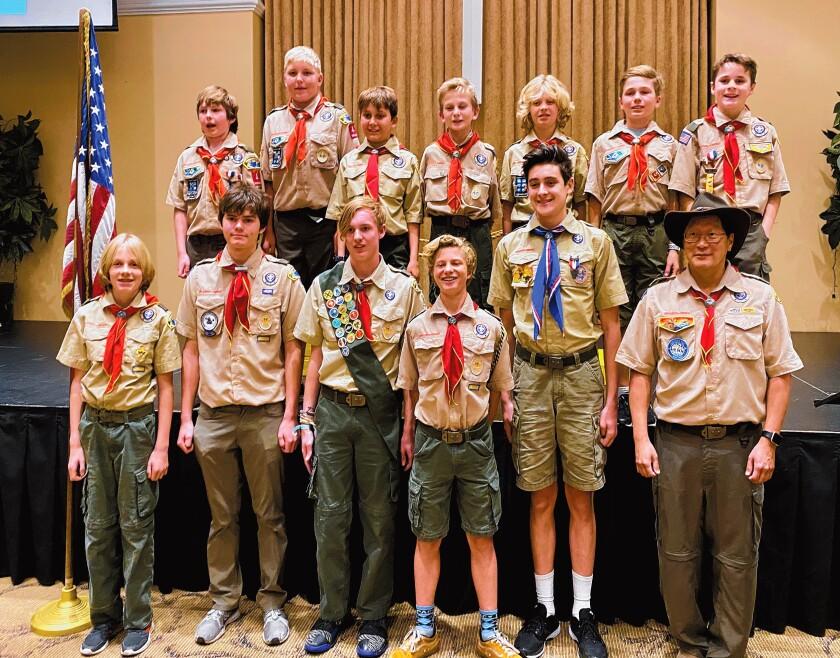 La Jolla Boy Scout Troop 4 with its newly bridged members