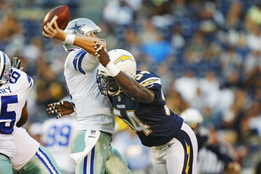 Chargers outside linebacker Melvin Ingram has slimmed down from 266 pounds to 246, reportedly without losing any strength. K.C. Alfred • U-T