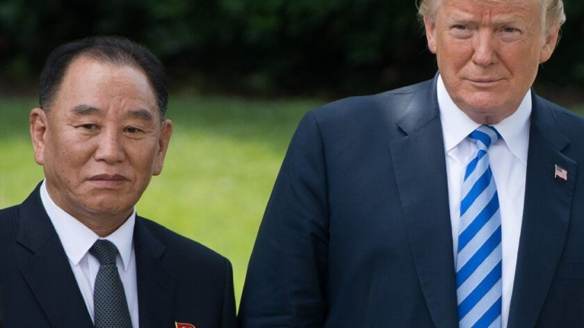 President Trump with North Korean emissary Kim Yong Chol at the White House on Friday.