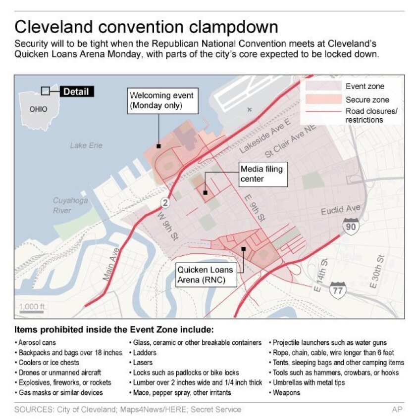 Graphic shows security and road restrictions for Republican National Convention in Cleveland; 3c x 5 inches; 146 mm x 127 mm;
