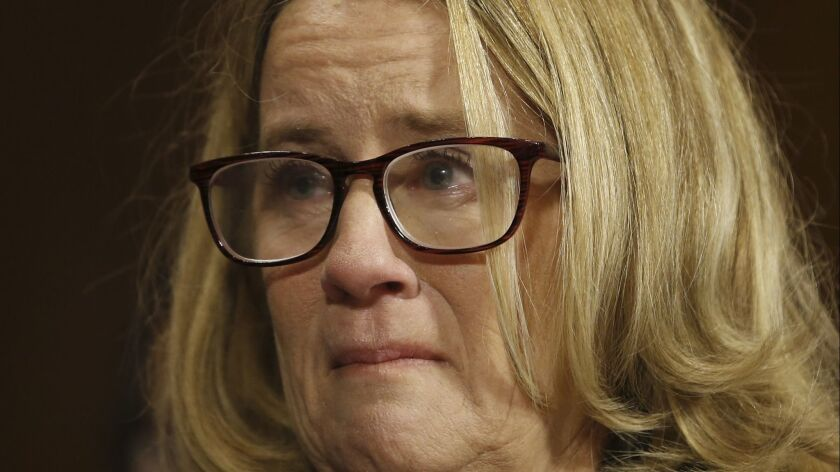Christine Blasey Ford testifies before the Senate Judiciary Committee on Capitol Hill in Washington,