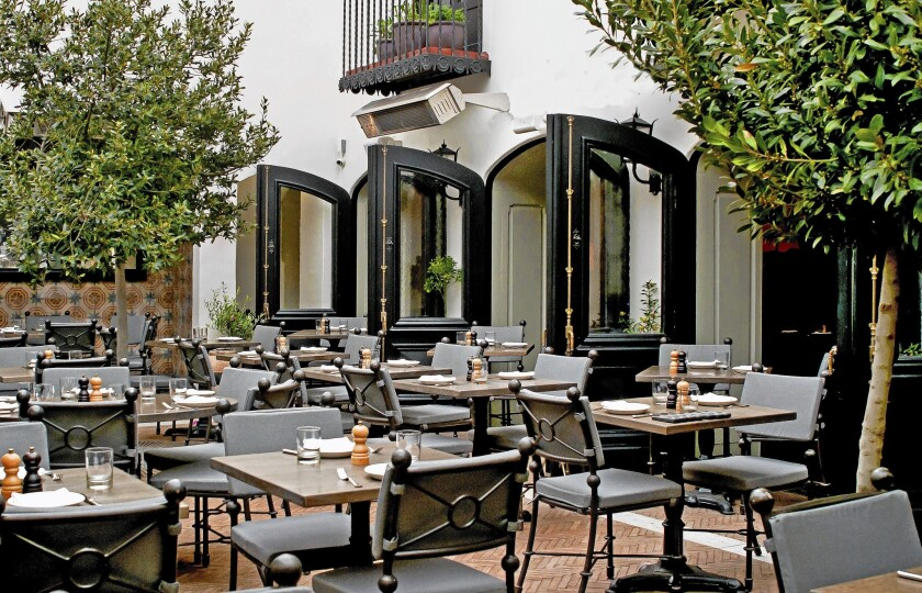 The patio at AOC is shaded with potted olive trees and bougainvillea.