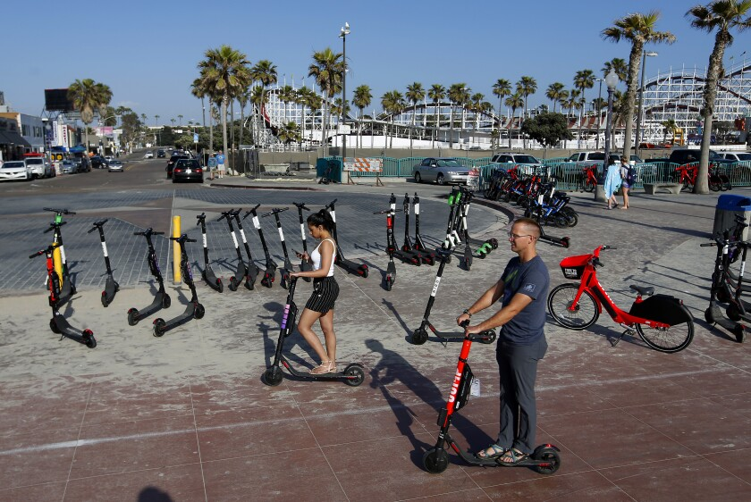 The Mission Beach boardwalk, shown here, has been a point of contention for scooters.