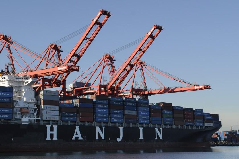 A Hanjin ship loads in the Port of Long Beach in 2010.