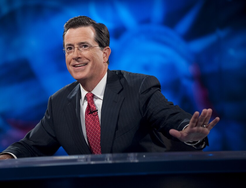 "Host Stephen Colbert on ""The Colbert Report."""