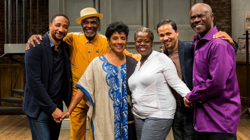 """Ma Rainey's Black Bottom"" director Phylicia Rashad, third from left, with cast members, from left: Damon Gupton, Keith David, Lillias White, Jason Dirden and Glynn Turman."