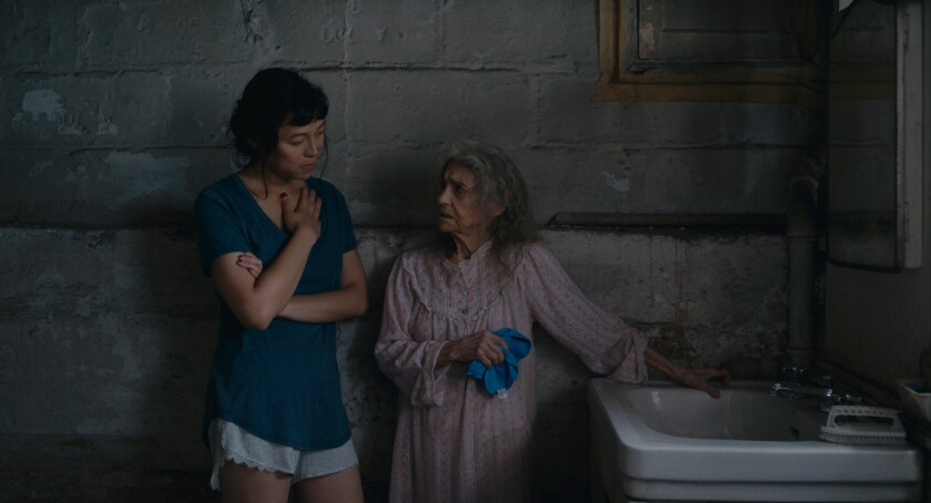 """Isabel Sandoval, left, and Lynn Cohen in a scene from """"Lingua Franca."""""""