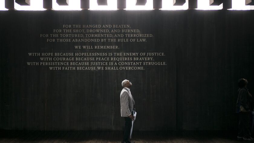 Ed Sykes, 77, visits the National Memorial for Peace and Justice in Montgomery, Ala.