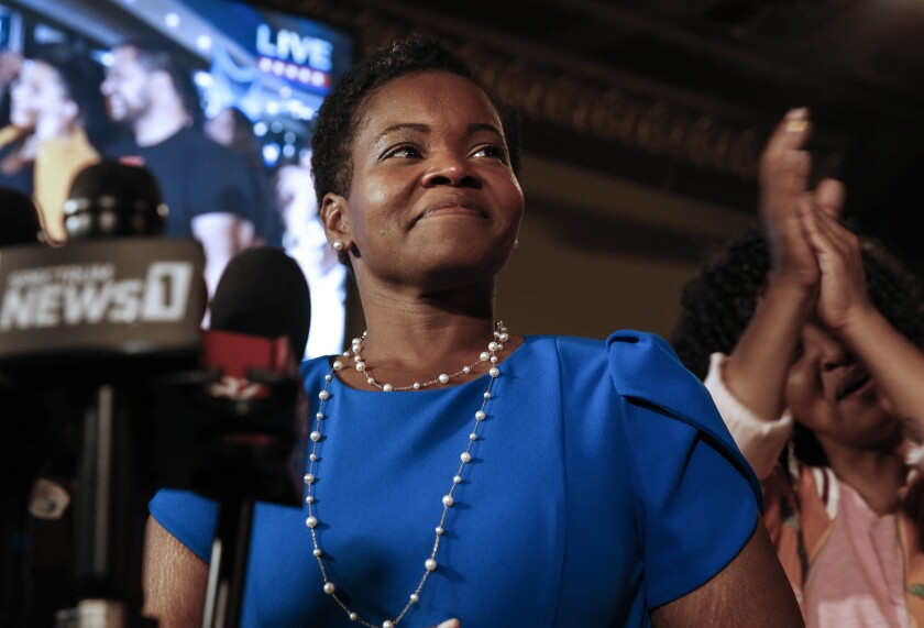 FILE - This Wednesday June 23, 2021 file photo shows Democratic Buffalo mayoral primary candidate India Walton as she delivers her victory speech after a primary defeat of incumbent Byron Brown in Buffalo, N.Y. After upsetting Byron Brown in the June race, a victory in November would put a self-described democratic socialist and, for the first time, a woman, at the helm of New York's second-largest city. (Robert Kirkham/The Buffalo News via AP, File)