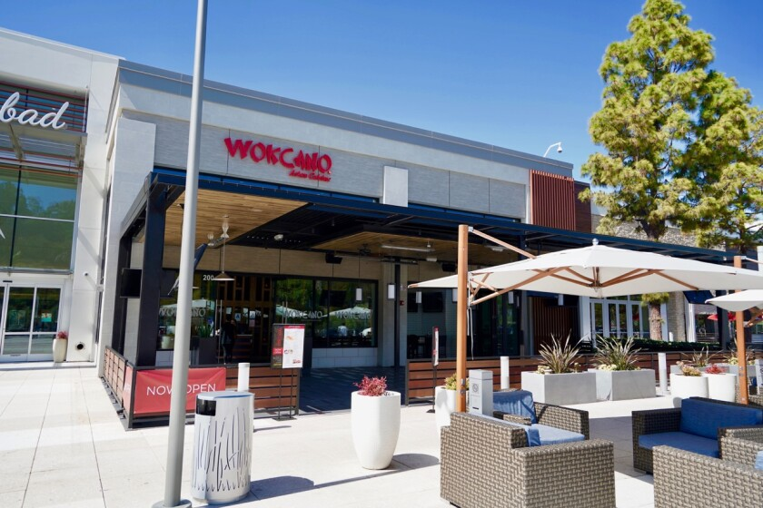 Wokcano Asian Restaurant and Bar has opened its first San Diego County location at The Shoppes at Carlsbad.