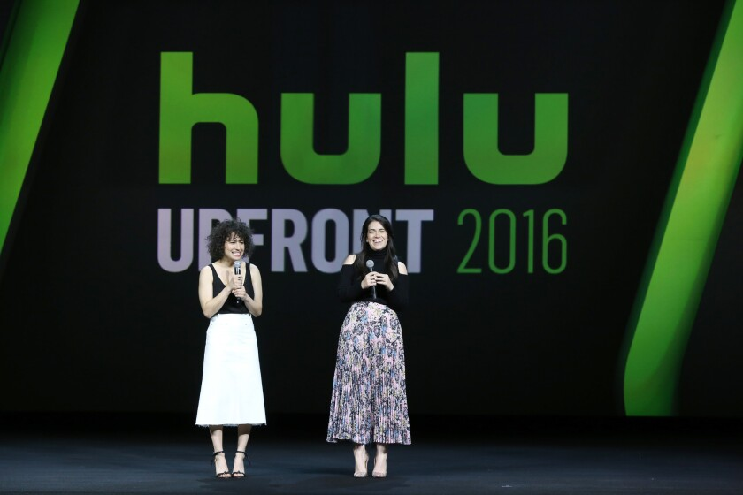"Ilana Glazer and Abbi Jacobson of ""Broad City"" speak at the 2016 Hulu Upfront in New York."