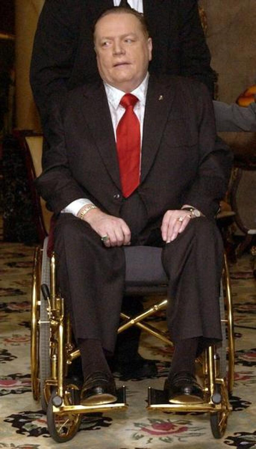 Huster magazine publisher Larry Flynt at a Beverly Hills press conference in 2003.