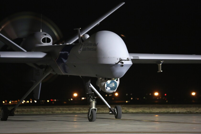 A Predator drone operated by the U.S. Office of Air and Marine is set to take off for a surveillance flight near the Mexican border.