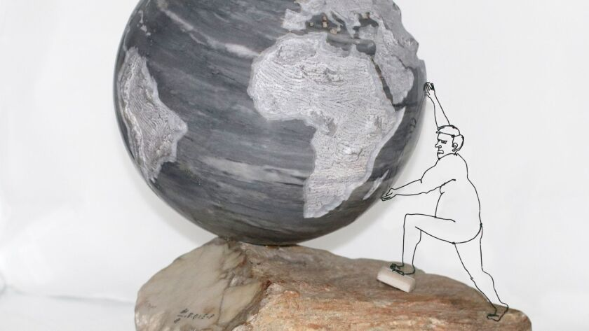 'Tipping Point Climate Change,' by Lilleane Pebbles in consultation with Art Miller and Alexander Gershunov, features a 10-inch diameter sphere made from Nuvoloso marble selected by the artist in Carrara, Italy.