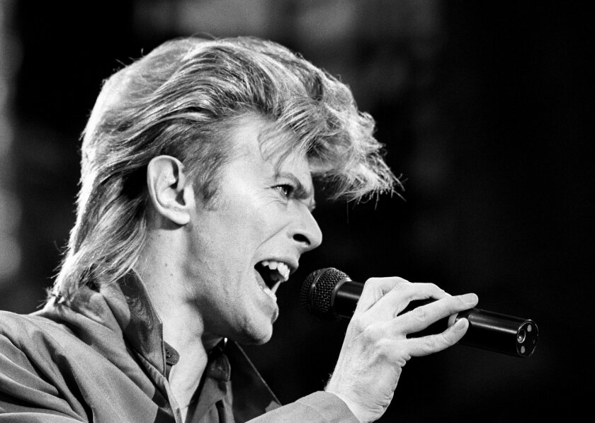 A 1987 file photo of David Bowie. Bowie, the other-worldly musician who broke pop and rock boundaries with his creative musicianship, nonconformity, striking visuals and a genre-bending persona he christened Ziggy Stardust, died of cancer Sunday Jan. 10, 2016. He was 69 and had just released a new