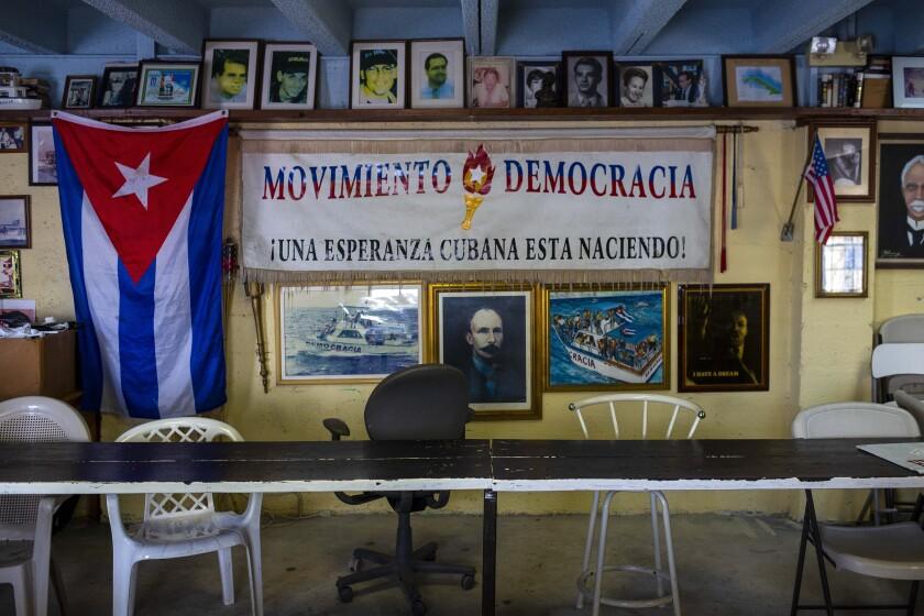 The headquarters of Movimiento Democracia in Miami's Little Havana.