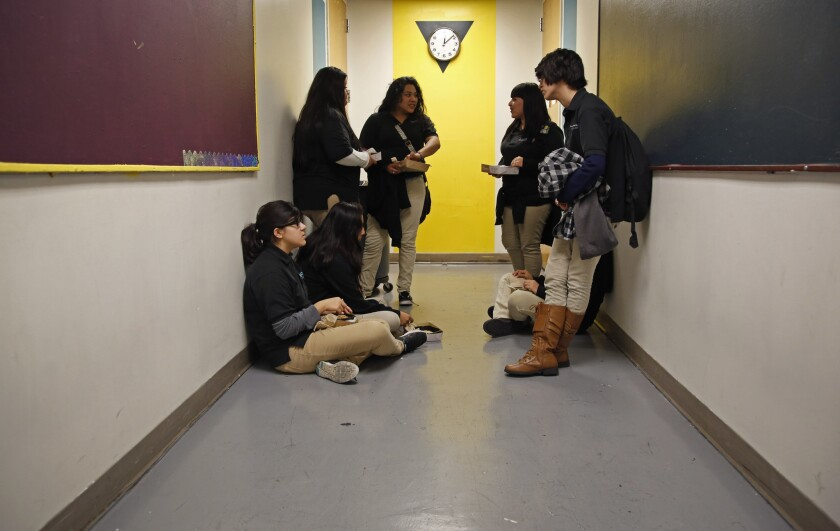 Students at a downtown Los Angeles charter school. The California Supreme Court ruled Thursday that Los Angeles Unified may have shortchanged charter schools in calculating how much space they should receive.