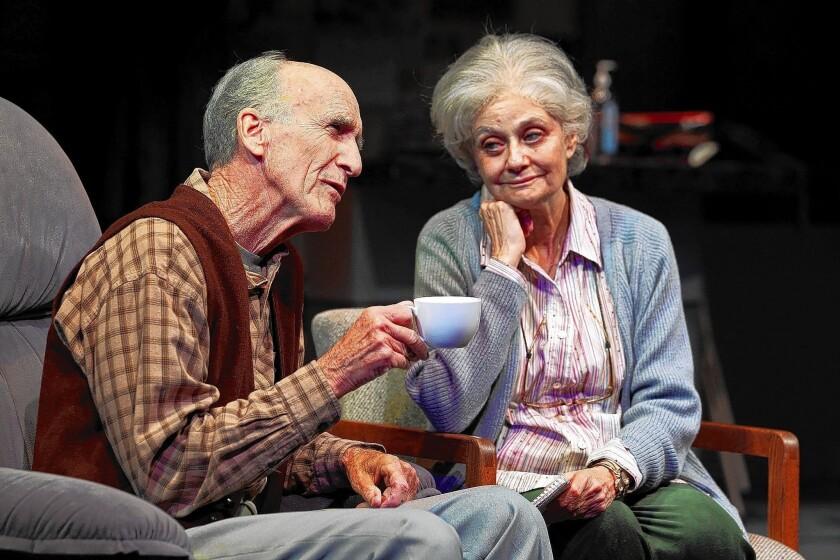 "Hal Landon Jr. and Lynn Milgrim in South Coast Repertory's 2014 world premiere of ""Rest"" by Samuel D. Hunter."