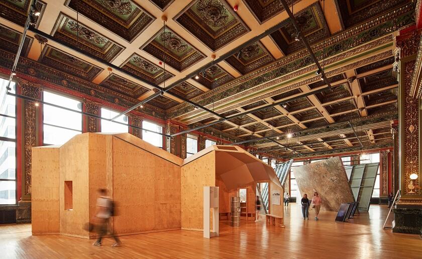 """An installation view of Oscar Tuazon's """"Great Lakes Water School."""""""