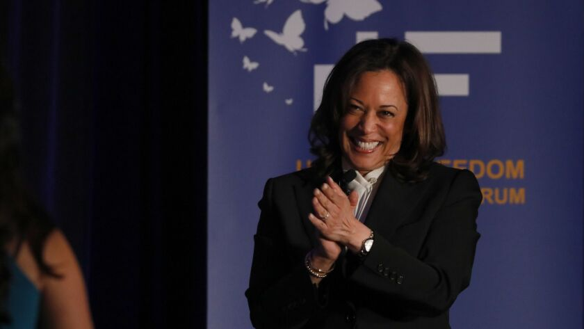 PASADENA, CA MAY 31, 2019: Senator Kamala Harris hugs a speaker during the Unity and Freedom Presi