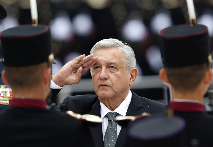 Mexican President Andres Manuel Lopez Obrador at a military ceremony in Mexico City on Sept. 13, 2019.